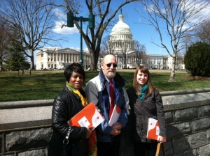 It was a sunny day (though chilly and windy) on Capitol Hill for World Kidney Day!  Gillian from CT, Mark from ME and Erin from the NKF national office in NY