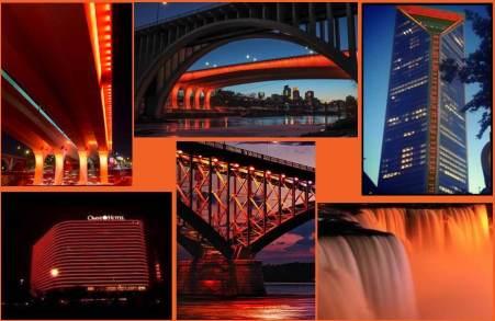 top row:  35W Bridge in Minneapolis, MN (2 photos), Duke Energy Building in Charlotte, NC bottom row:  Omni Hotel in Dallas, TX, Peace Bridge in Buffalo, NY that connects US to Canada, Niagara Falls